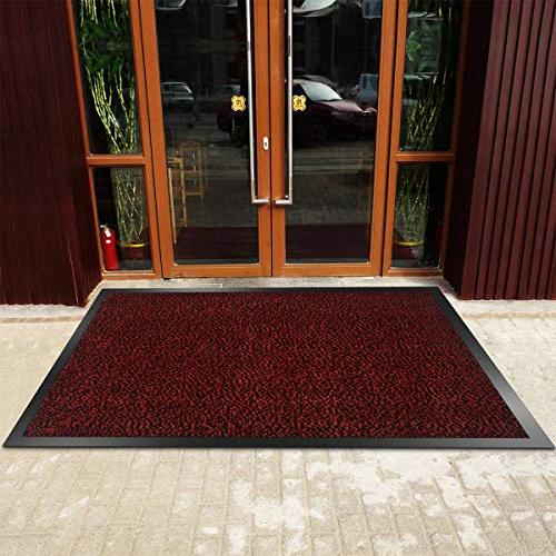 "SHOWIN mats Inside | Carpet Entrance Mat(Red-Black 24""X36"") Front Mat Rug"