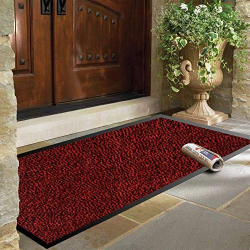 "SHOWIN Door Inside Mat(Red-Black 24""X36"") Front Door Mat Rug"