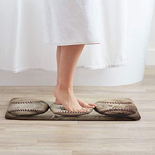 FunnyCustom Doormat Vintage Personalized Water Absorption Bath Mat for Kitchen