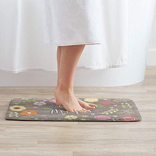 FunnyCustom Doormat Shabby Chic Floral Personalized Non Slip for