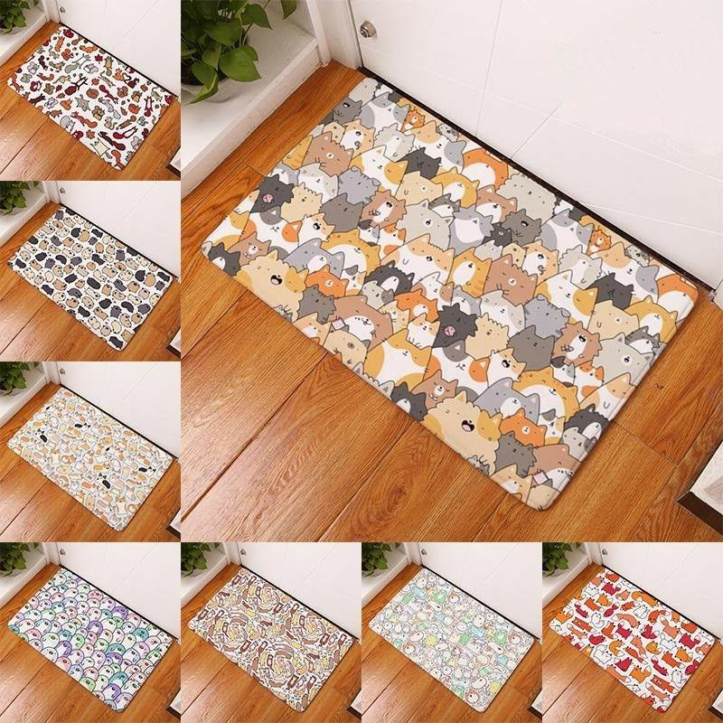 Durable Door Mats Thin Flannel Lovely Cartoon Kitchen Entrance Rugs