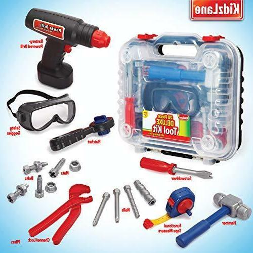 Durable Kids Tool Set with Electronic Cordless Drill and