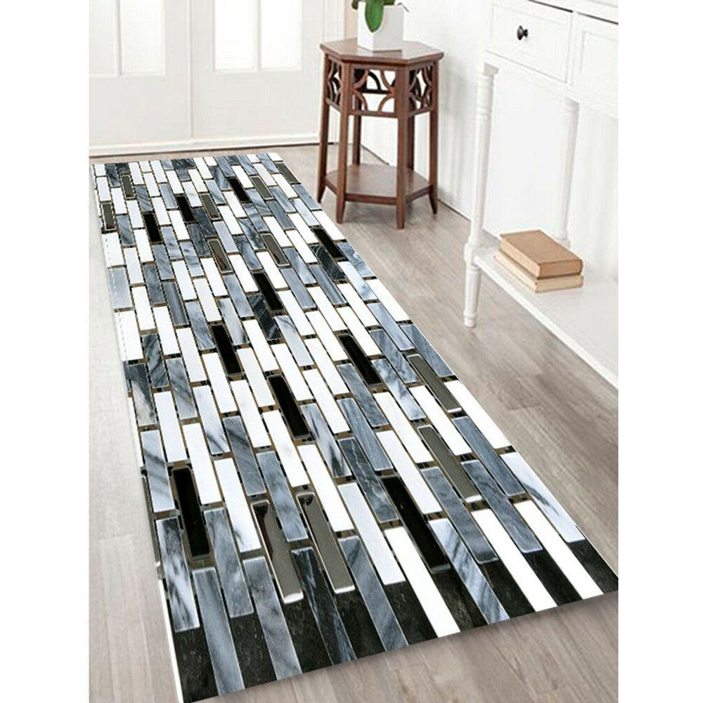 Kitchen Mat Fake Tile Bricks Floor Pad Non-Slip Bath Rug Flo