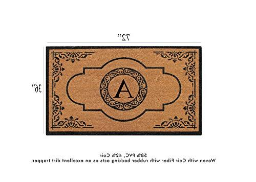 A1 Home Impression Hand Crafted Abrilina Entry Coir Monogrammed Doormat, L 36""