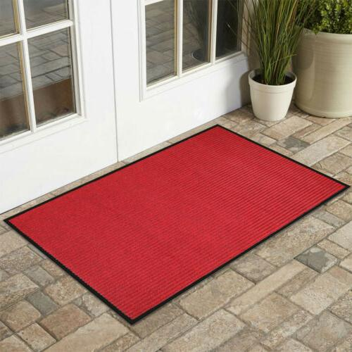 "Front Door Mat Ribbed Rug 16x24"" Home Hall"