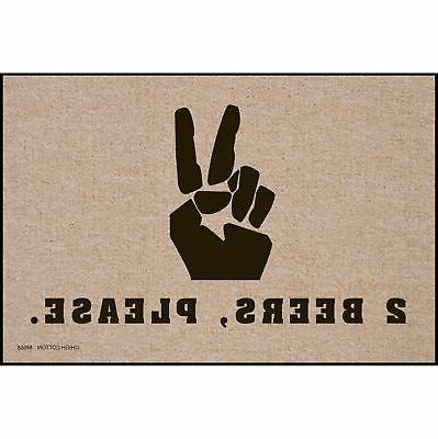 High Cotton Front Door Welcome Mat - Peace Sign, 2 Beers Ple