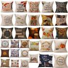 Happy Fall Thanksgiving Day Soft Linen Pillow Case Cushion C