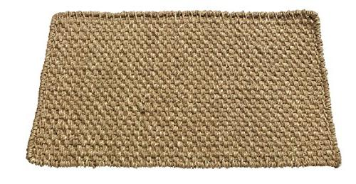 """HF LT Boho Seagrass Doormat, 30"""", Durable and Sustainable Handwoven Seagrass, Static and Beige"""