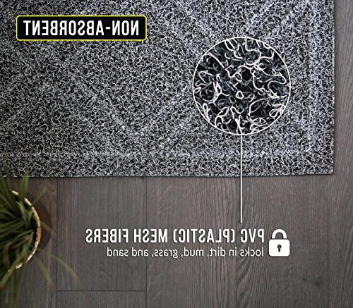 BrigHaus Large Doormat | 35 | Mat Rug, Outside Patio, Inside Entry Dirt Snow Mud - Black/White