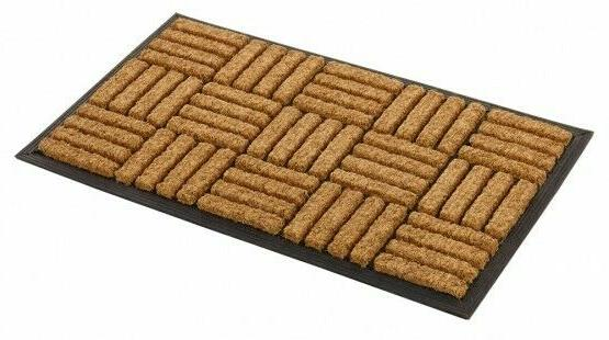 inlaid rectangle coco rubber mat criss cross