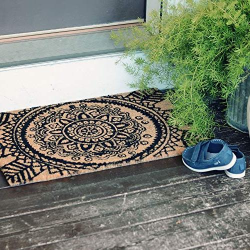 Moroccan Mat, Natural Backed with Durable Earth Friendly Black Wide Global Chic