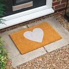 Non-Slip Coir Door Mat - 40 x 60cm - White Heart - Indoor We