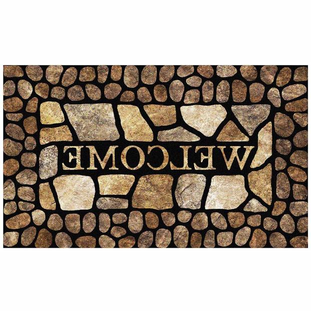 Outdoor Door Welcome Entrance Carpet Doormat Pebble Border
