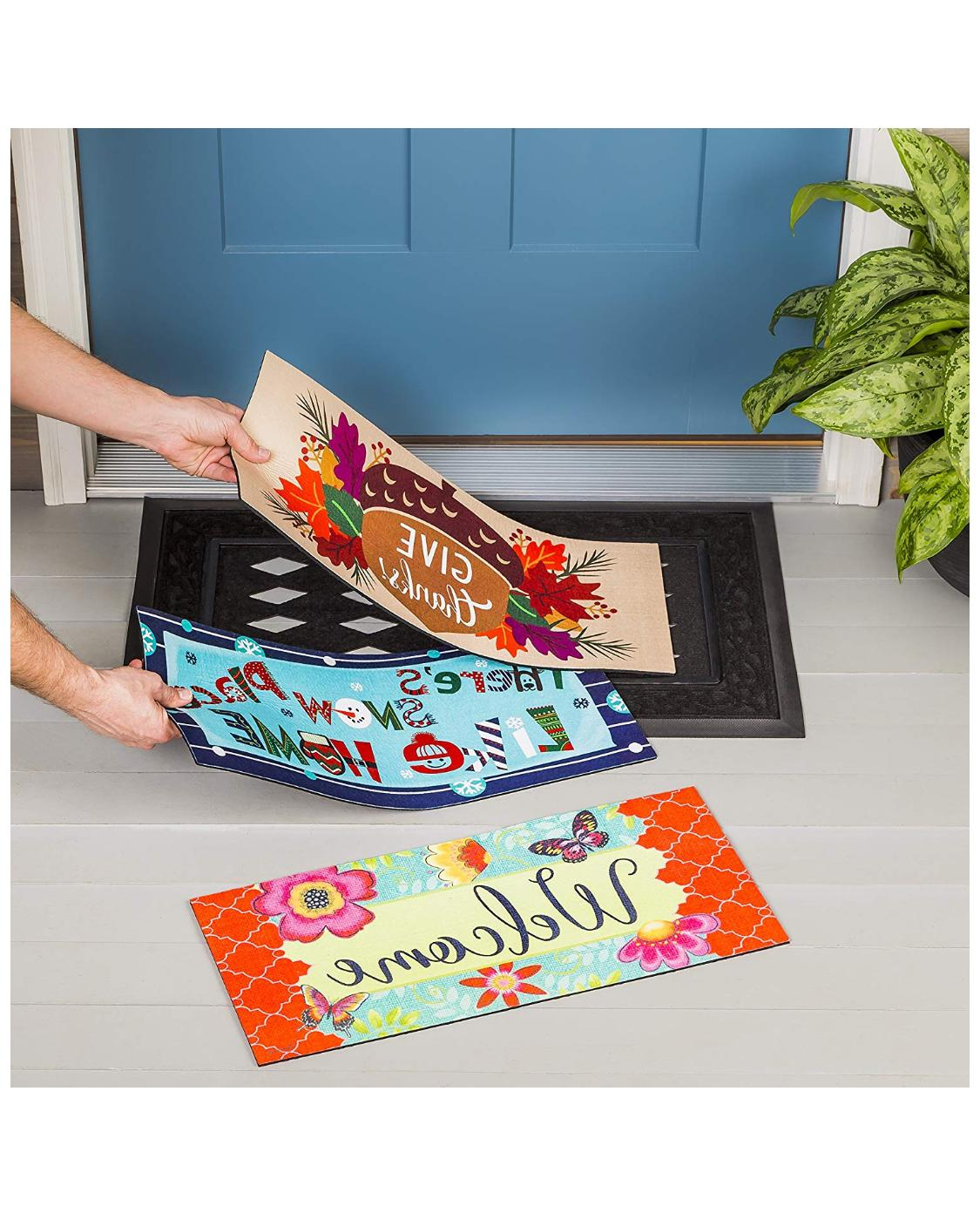 Seasonal Spring Fall and Winter Switchable Doormat with Inse