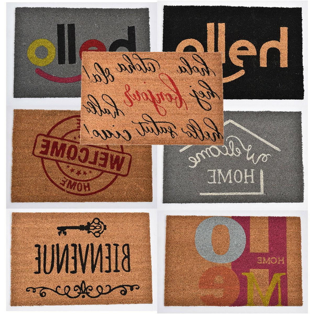 sheltered printed front door mat writing coir