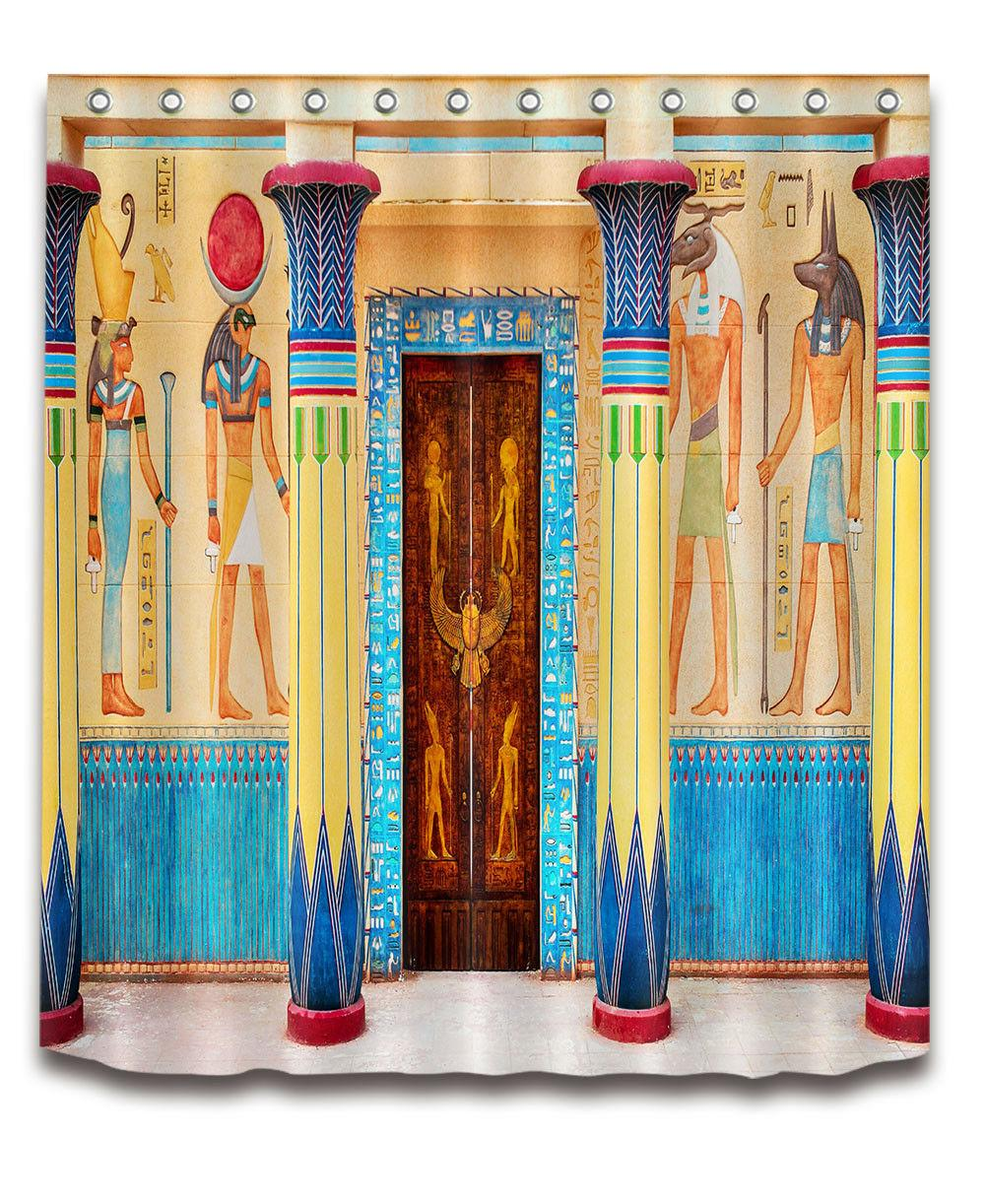 Shower Curtain Egyptian Tomb Door Waterproof Fabric Polyester Bathroom Mat