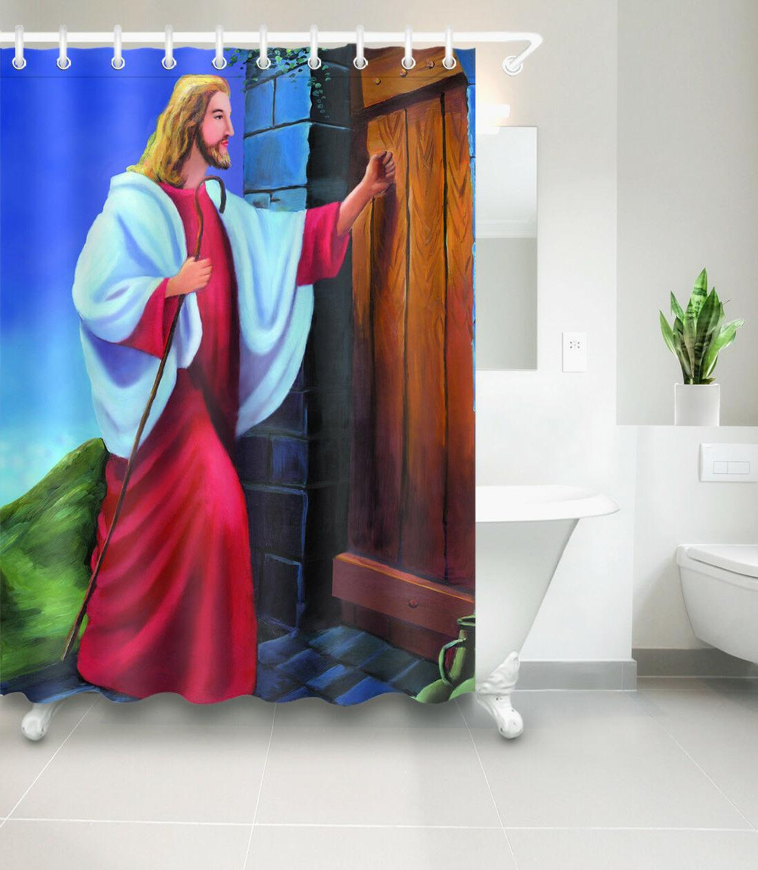 shower curtain waterproof fabric polyester jesus knock