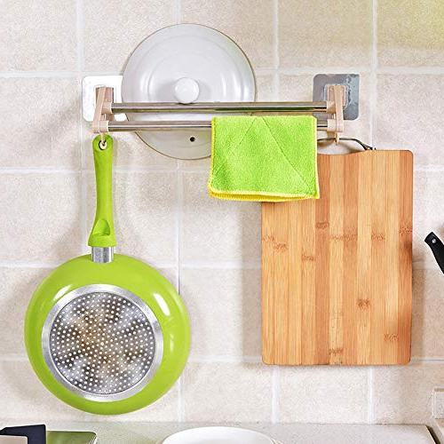 Baost Suction Cup Double Pole Towel Mounted Towel Rail Bathroom Shower Mat Drill Removable Door Bath Towel Holder Green