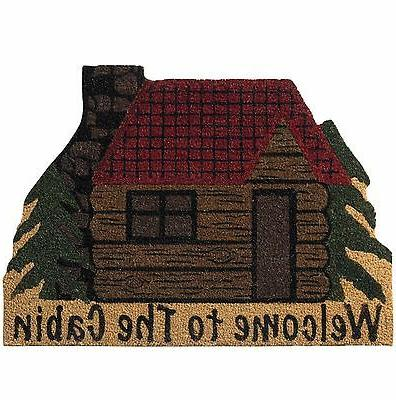 Welcome To The Cabin Bristle Door Mat Lodge Cabin Shaped Rug
