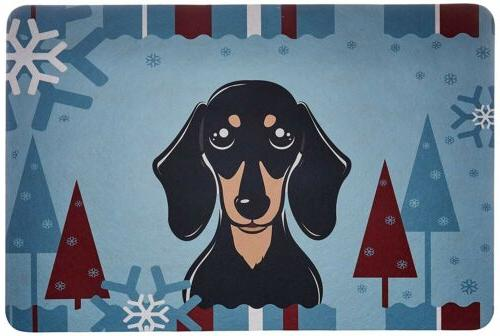 Winter Holiday Smooth Black and Tan Dachshund Kitchen or Bat