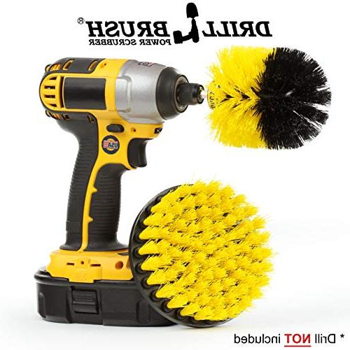 yellow drill brush cleaning attachment