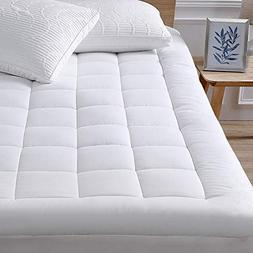 """Mattress Pad Cover-Cotton Top with Stretches to 18"""" Deep P"""
