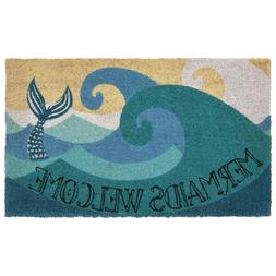Mermaids Welcome Coir Door Mat Nautical Beach Cottage Mermai