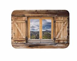 Mountains Landscape Scenery Wood Window Print Non-Skid Floor
