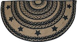 New BLACK FARMHOUSE STAR HALF RUG Jute Floor Mat Country Pri