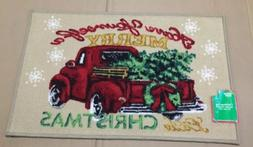 NEW Christmas Vintage Little Red Truck Kitchen Door Mat Rug