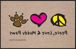 Peace Love And Muddy Paws Doormat