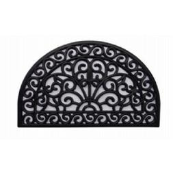 Palm Fibre PLM-19767 Rubber Iron Gate Scroll Half Round Mat,