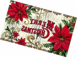 Evergreen Garden 41EM2202 Poinsettia Floor Embossed Door Mat