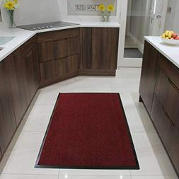 """Red Rubber Backed Hardwearing Washable Doormats 1' 4"""" x 2"""