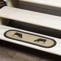 Sawyer Mill Charcoal Pig Cow OR Rooster Jute Stair Tread Ova