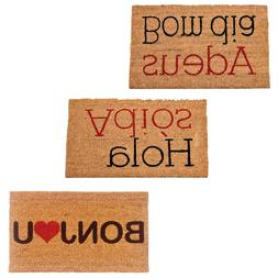 Sheltered Printed Front Door Mat Hola-Adios-Bonjou Natural C