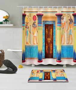 shower curtain egyptian tomb door waterproof fabric