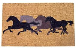 Silhouetted Galloping Horses Coir Door Mat, 29 1/2 Inch