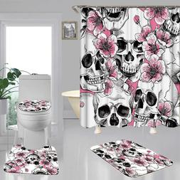 Skull Doormat Door Bath Mat Toilet Cover Rugs Shower Curtain