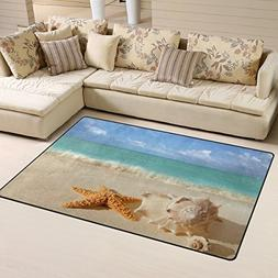 Naanle Summer Ocean Area Rug 1.8'x2.7', Sea Shells Starfish