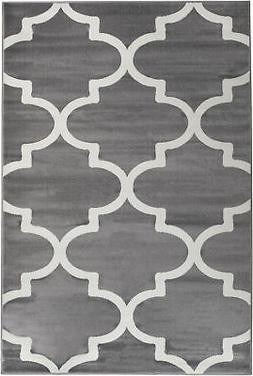 Summit 50 Gray White Trellis Area Rug Modern Abstract Rug 5x