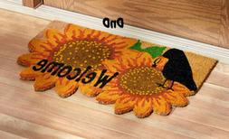Sunflower and Crow Theme Welcome Door Mat Colorful Coir 27""