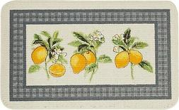 TEXTURED PRINTED RUG/MAT  CITRUS FRUITS, LEMONS, D Shaped, M
