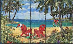 Toland Christmas Paradise 18 x 30 Decorative Tropical Beach