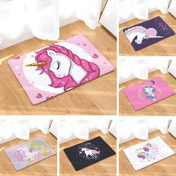 Unicorn Floor <font><b>Mat</b></font> Cartoon Printed Suede
