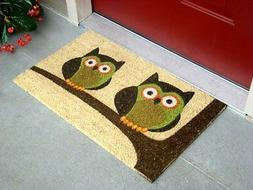 """Vinyl Backed Twin Owls Printed Coco Doormat 0.5"""" Thick - 18"""