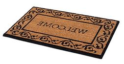 BirdRock Home Welcome Coir Doormat with Scroll Border | 18 x