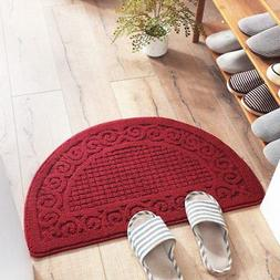 Welcome Door Mat Brown Half Oval Round Outdoor Floor Rug Ent