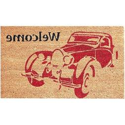 Welcome Doormat Vintage Car Mat 18 x 30 Inches Coco Coir Ind