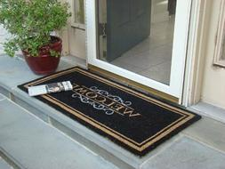 WELCOME MAT Heavy Duty Large Coir Doormat Front Porch Double